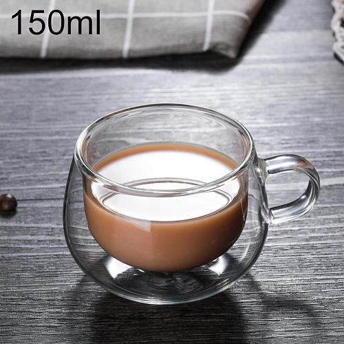 150ml Double Wall Thermal Glass Cup Heat Resistant Tea Coffee Mug with Handle