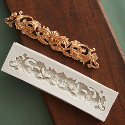 Retro long lace silicone mold DIY fondant chocolate kitchen baking utensils epoxy resin clay plaster candle crafts accessories