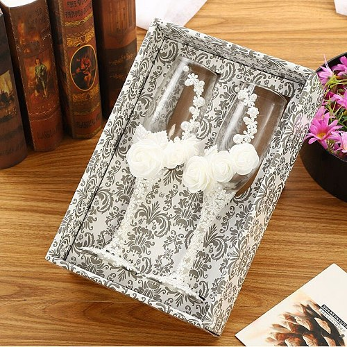 2Pcs/Set Wedding Glasses Personalized Champagne Flutes Crystalline Party Gift Toasting Glass Goblet Anniversary