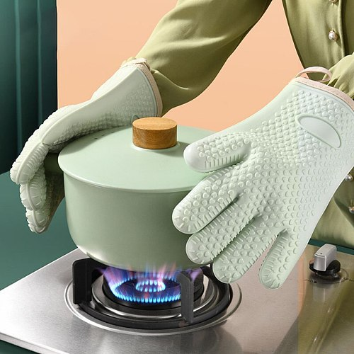 Set of 2 Thick Heat Resistant Silicone Oven Mitts Sleeves for Bakeware Tools Gadgets Anti Hot