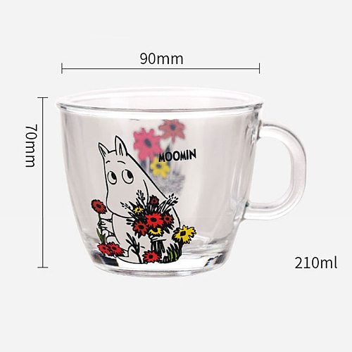 230ml Creative Cute Moomin Glass Mugs Cup Wedding With Lid Water Milk Tea Glass Coffee Mug Moomin Cartoon Kids Students for Home