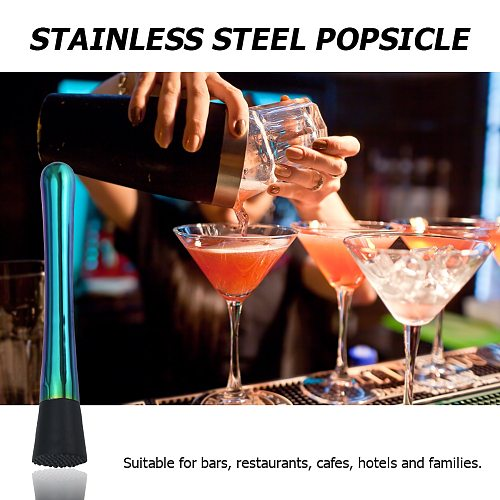 Stainless Steel Bar Mixer Cocktail DIY Drink Fruit Crushed Ice Muddler Tool Bar Mixer Barware DIY Drink 20.5x3.3cm Bar Tool