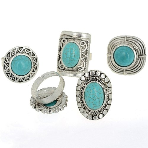 5pcs Vintage Multi Shapes Natural Stone Rings For Women Men Alloy Silver Color Ring Punk Jewelry Adjustable