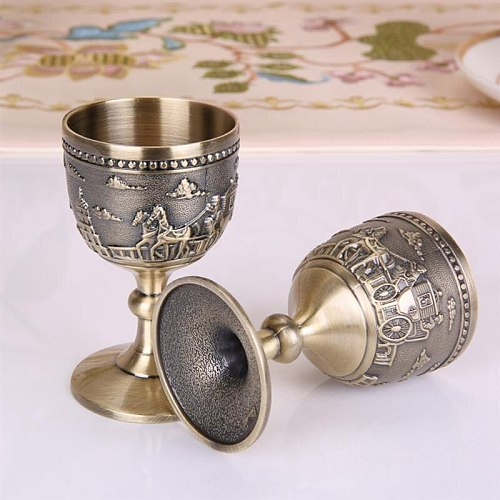 Classical Metal Wine Cup Handmade Small Goblet Household Copper Wine Glass Carving Pattern