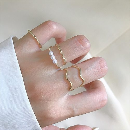 Multi Beaded Pearl Rings Set Natural Freshwater Pearl for Women Vintage Gold Silver Color Minimalist Ring  Wedding Jewelry Gift