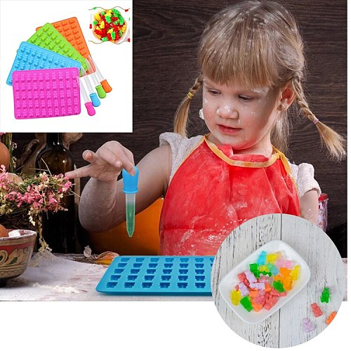 50 Cavity Gummy Bears Silicone Mold Chocolate Candy Ice Jelly Mold  DIY Children Cake Decorating Tools