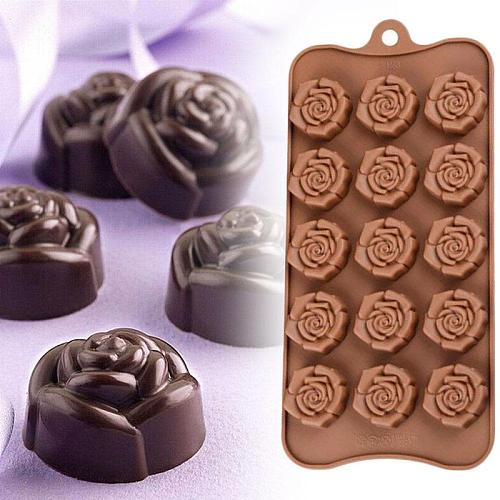 1PCS 15-even Rose Flowers Shaped Silicone Chocolate Mold Cookware Baking Tool Kitchenware Soap Fondant Mould Cake Decoration