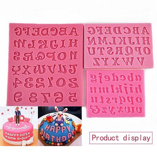 Silicone Letter Digital Cutting Mold Fondant Candy Mold Crafts Cupcakes Candies Cards Birthday Cake Decoration Baking Tools
