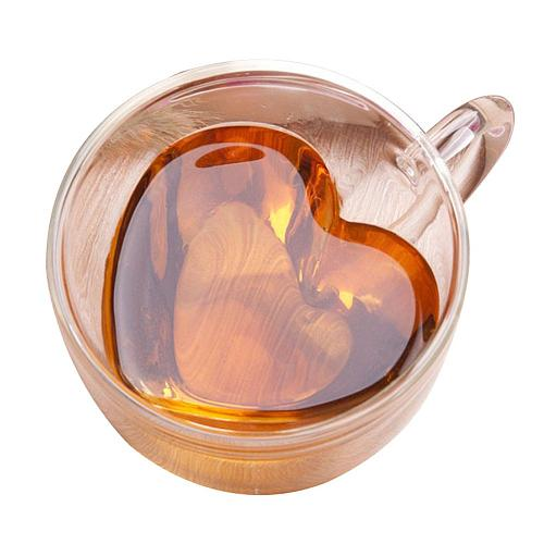 180/240ml Fashion Love Heart Shape Heat Resistant Clear Glass Water Milk Coffee Cup Whiskey Double Layer Mug Drinkware