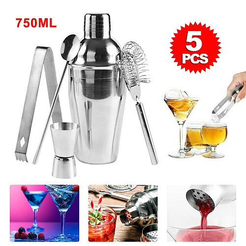 High Quality Useful 5Pcs Cocktail Shaker Set With Acrylic Base Maker Mixer Martini Spirits Muddler