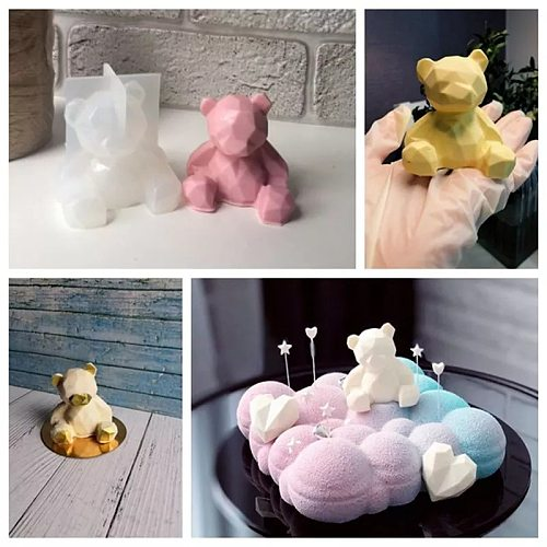 3D Silicone Mold DIY Geometry Stereo Bear Deer Cat Animal Cake Mold Unicorn Ornament Mould Cake Fandant Decoration Tools