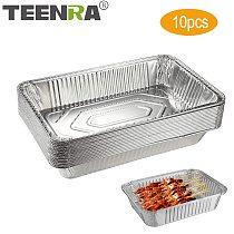 TEENRA 10Pcs Disposable BBQ Drip Pan Non-stick Aluminium Foil Box Heat-resistant BBQ Tin Tray Camping BBQ Tools