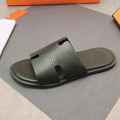2021 new men's classic leather slippers Multi-color Leather sole