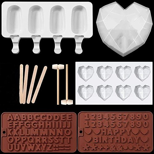Love Heart Shape Silicone Mould Popsicle Mold Figure letter Molds Mousse Dessert Cake Ice creamMolds Kitchen Baking Tool