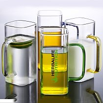 New Wholesale Price Transparent Herbalife Nutrition Creative Heat-Resistant Square European Milk Juice Glass Cup