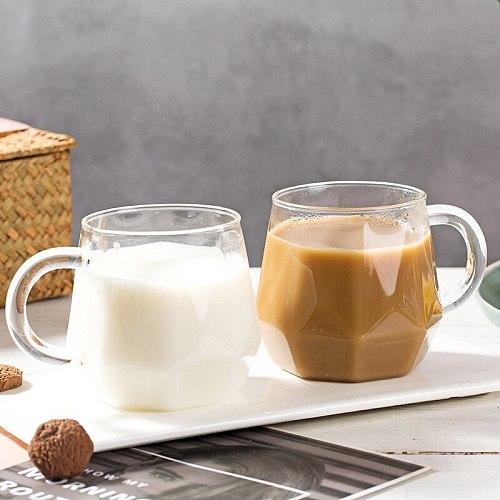 400ml Diamond Clear Mugs Transparent glass mug with handle Milk Mug Irregular Glass Water Cup  Simple Coffee Mug Household Drink