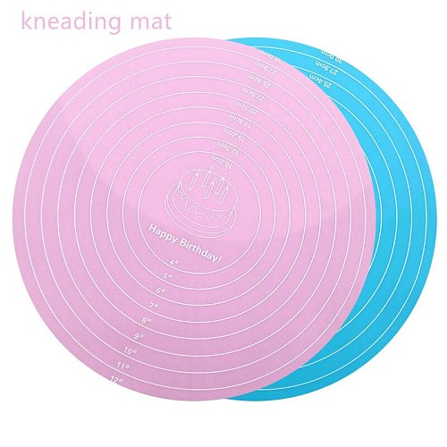 Silicone Non-Stick Round Kneading Dough Mat Pastry Cookie Macaron Baking Mat Sheet Rolling Dough Pad Kitchen Accessories Gadgets