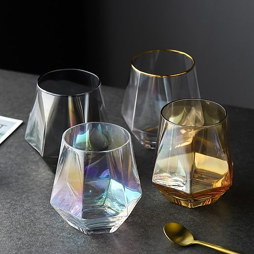 Geometry Whiskey Glass Diamond Crystal Glass Cup Golden Rim Transparent Coffee Milk Tea Mug Home Bar Drinkware Couple Gifts