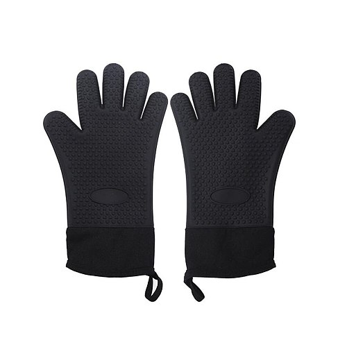 Kitchen BBQ Mitt Glove Silicone Microwave Oven Heat Resistant Gloves Grilling Potholder DIY With Long Canvas Sleeve Stitching