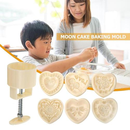Round Ice Skin Mooncake Molds Mid Autumn Festival DIY Hand Pressure Heart-shaped Cutter Pastry Bake Tools Support Dropshipping