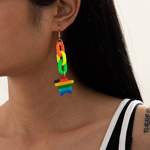 TIMEONLY Funny Neon Green Rainbow Star Dangle Earrings Multi Color Arcylic Link Chain Earrings for Women  Festival Gifts Jewelry