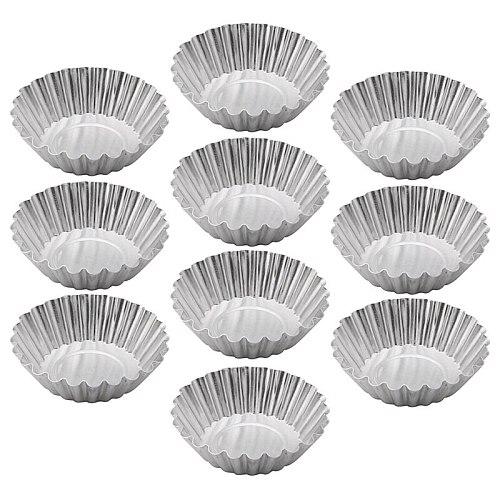 Baking Tool 10PCS Egg Tart Aluminum Cupcake Cake Cookie Flower Mold Mould Tin -Y102