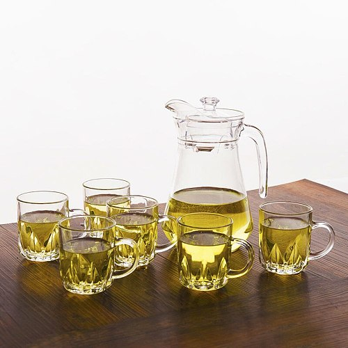 Thick Heat-resistant Lead-free Glass Cups Cups Beer Drinks Juice Cups Large Glass Plate Cold Kettle Set Glass Cup Shot Glass