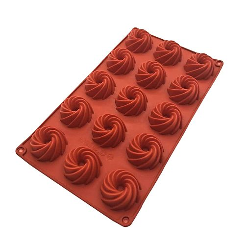 15 Holes Chocolate Spiral Bread Silicone Cake Mold Kitchen Baking Tools Donuts Cake Biscuit Mold  DIY Chocolate Mould