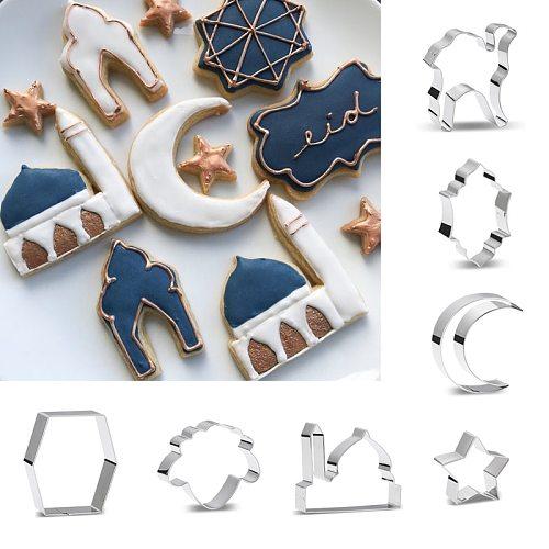 1PC Eid Mubarak Biscuit Mold Moon Star Church Camel Cookie Cutters DIY Cake Baking Tools Ramadan Kareem Party Home Decorations