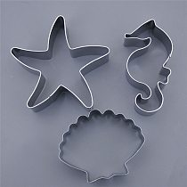 3pcs/set Seahorse Starfish Seashells Cookie Cutter Mermaid Under The Sea Birthday Party Decoration Stainless Steel Biscuit Mold
