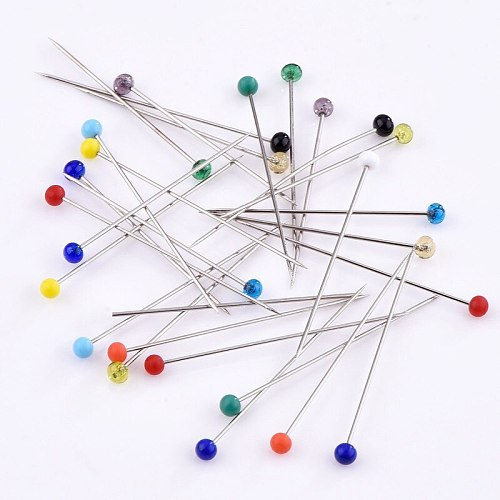 50/100Pcs Round Pearl Head Dressmaking Pins Weddings Corsage Florists Sewing Pin with Box Multi-Color Sewing Pins