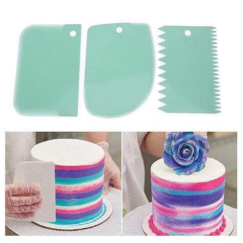 3 Pcs/Set Confectionery Spatula Plastic Pastry Dough Cutter Baking Pastry Tools Dough Scraper Spatula for Cake Decorating