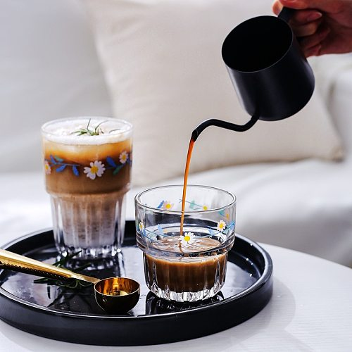 258/350ML Korean Small Daisies Print Glass Coffee Mug Creative Glass Cup Juice Cola Milk Tea Beer Glass Can Be Superimposed 1PCS