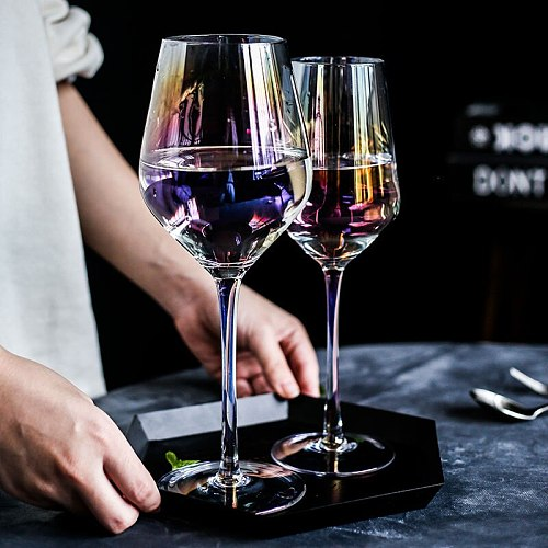 Ins Colorful Crystal Glass Red Wine Glass Cup Champagne Glass Plating Home for Wine Cocktail Whiskey Bar Christmas Gift 300ml