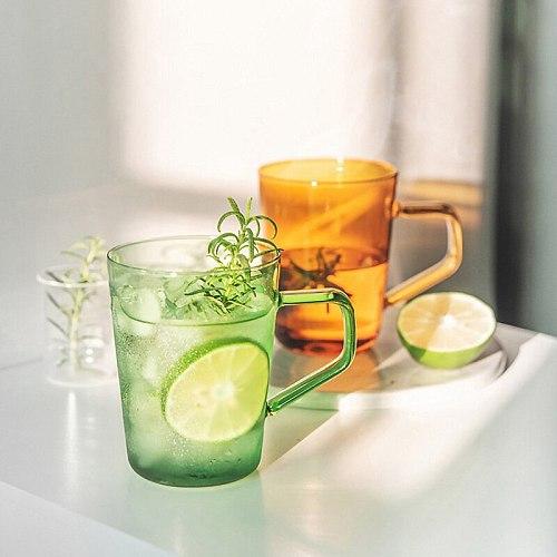 2 pieces Colored Glass with Handle Water Mug Coffee Mug Ice Cream Cup Green Orange Glass Mug Milk Tea Cup Drinkware 420ml