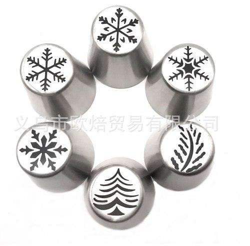6pcs Icing Piping Tips Christmas Tree Snowflake Russian Leaf Nozzle Bakeware Cupcake Cake Decorating Pastry Baking Tools K082
