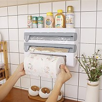 Kitchen Storage Rack Towel Hanger Holder Tin Foil Storage Rack Kitchen Accessories Cling Film Sauce Bottle Wall Roll Paper