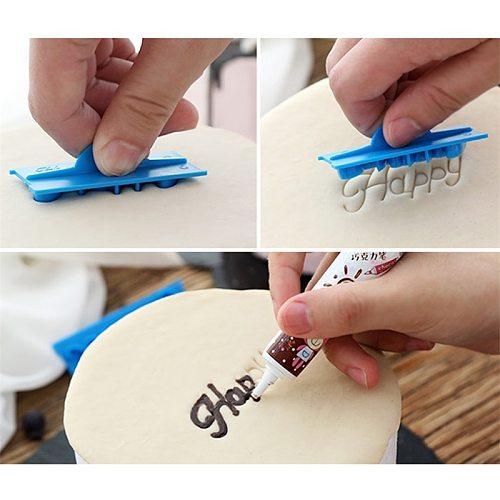 6pcs/set Handwriting Fondant Cake Embosser Plastic Letters Mold Happy Birthday Best Wishes Baking Molds Decoration Tool DropShip