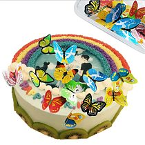42pcs/10PCS Mixed Butterfly flowers Edible Glutinous Wafer Rice Paper Cake Cupcake Toppers Cake Decoration Birthday Wedding Tool