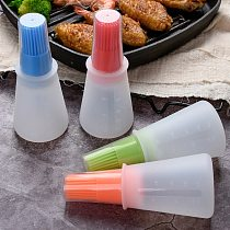 1 Pcs Portable Silicone Oil Bottle With Brush Grill Oil Brushes Liquid Oil Pastry Kitchen Tools Baking BBQ Accessories Cocina