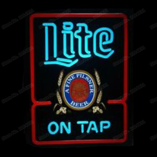 Miller Lite ON TAP Printed A Fine Pilsner Beer Neon Sign Handmade Real Glass Tube Bar Store Decoration Display Light 15 X19