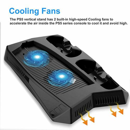 Charging Stand With Cooling Fan For PS5 De / UHD Storage Cooler Vertical Base Holder For PS 5 Digital Edition / Ultra HD