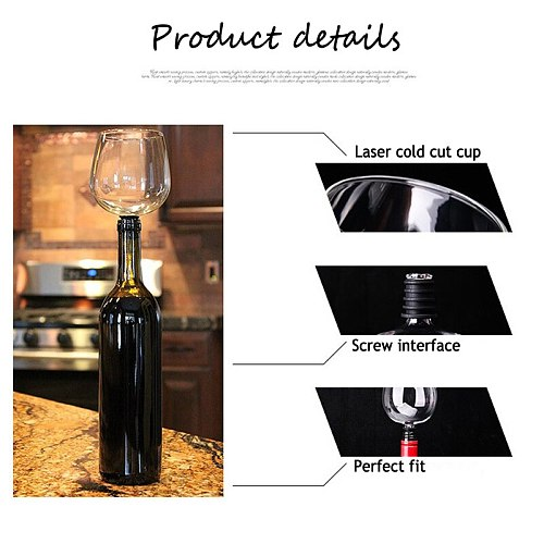 Creative Red Wine Champagne Glass Cup with Silicone Seal Drink Directly from Bottle Crystal Glasses Cocktail Mug