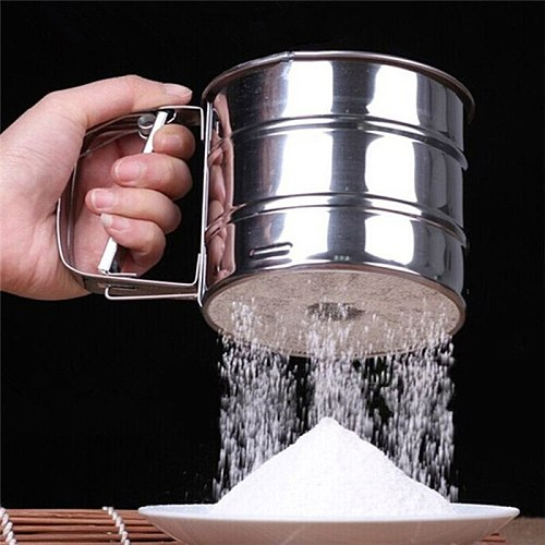 Mesh Flour Sifter Manual Sugar Icing Shaker Stainless Steel Cup Shape Kitchen Tools REME889