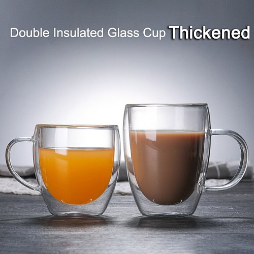 Double Wall Glass Cups Glass Coffee Cup Drinkware Transparent Tumbler Cups Milk Whiskey Tea Beer Water Bottle Coffee Mug