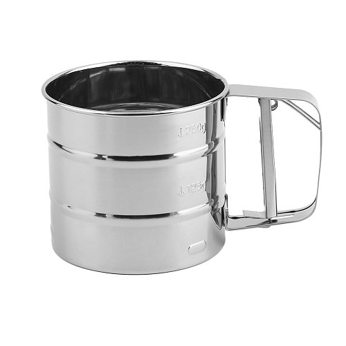 Handheld Baking Cake Tool Stainless Steel Mechanical Baking Icing Sugar Shaker Sieve Cup Mesh Powder Flour Sieve Accessory