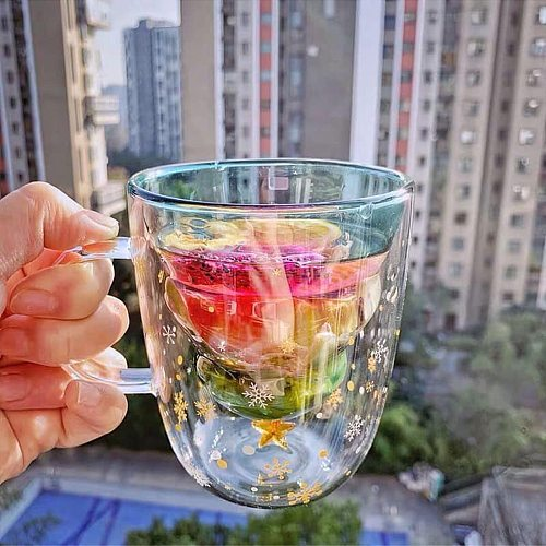 300 ML Creative Christmas Tree Glass Cup Heat-resistant Double Wall Glass Cup Coffee Mug with Lid Cute Christmas Gifts for Girls