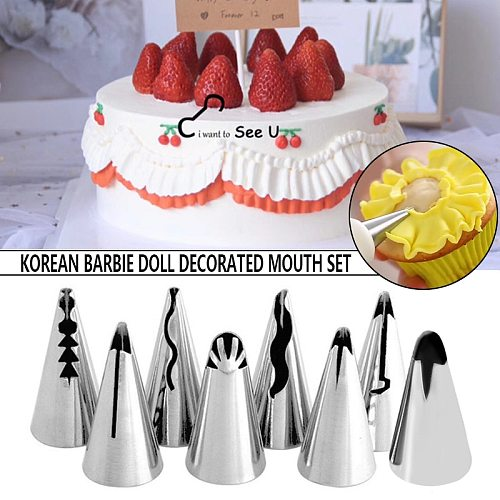 8pcs/lot Wedding Russian Nozzles Pastry Puff Skirt Icing Piping Nozzles Pastry Decorating Tips Doll Cake Cupcake Decoration Tool