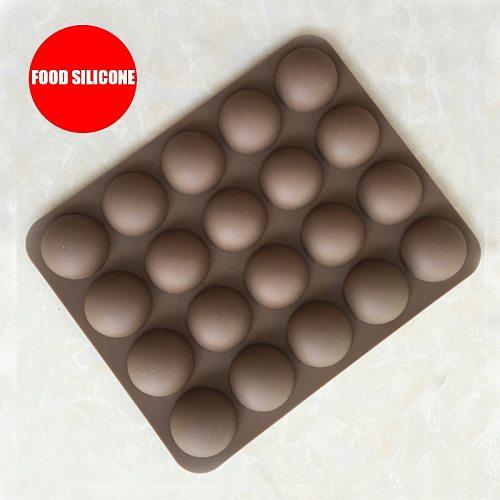 20 Hole Half Semi Round Bakeware Chocolate Gummy Soap Silicone Mold Half Ball Sphere Hemisphere Cake Tools