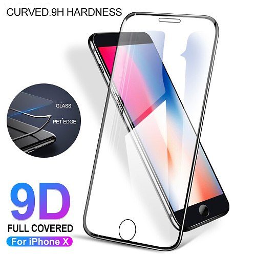 9D Protective Tempered Glass on for iPhone 7 6 6S Plus Screen Protector for iPhone X 8 7 6 6S Plus Glass Soft Curved edge